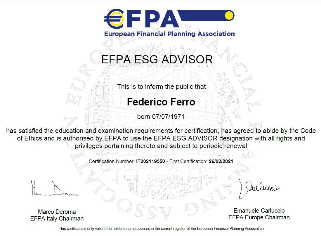 Federico Ferro Consulente Finanziario ESG